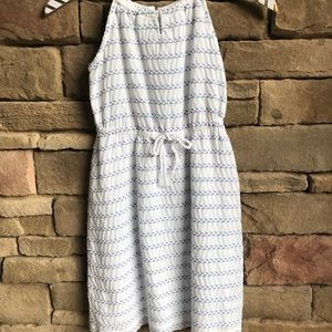 Girls Tommy Hilfiger White Blue Sleeveless Dress